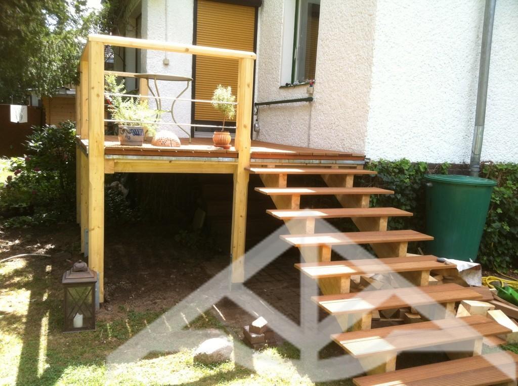 Außentreppe Holz Mit Podest erhöhte terrasse holz - zimmerei carsten wesolowski berlin